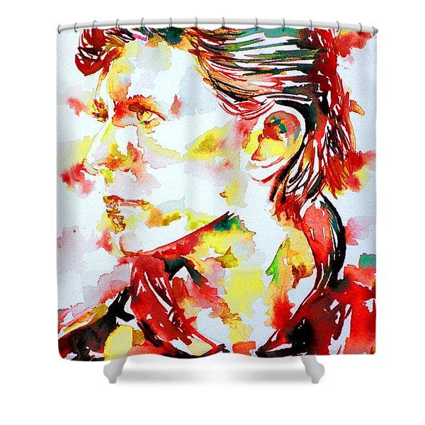 David Bowie Watercolor Portrait.1 Shower Curtain by Fabrizio Cassetta