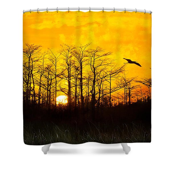 Day's End Shower Curtain by Debra and Dave Vanderlaan