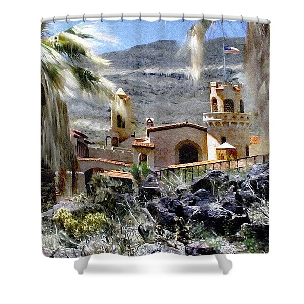 Death Valley Scotty's Castle Shower Curtain by Bob and Nadine Johnston
