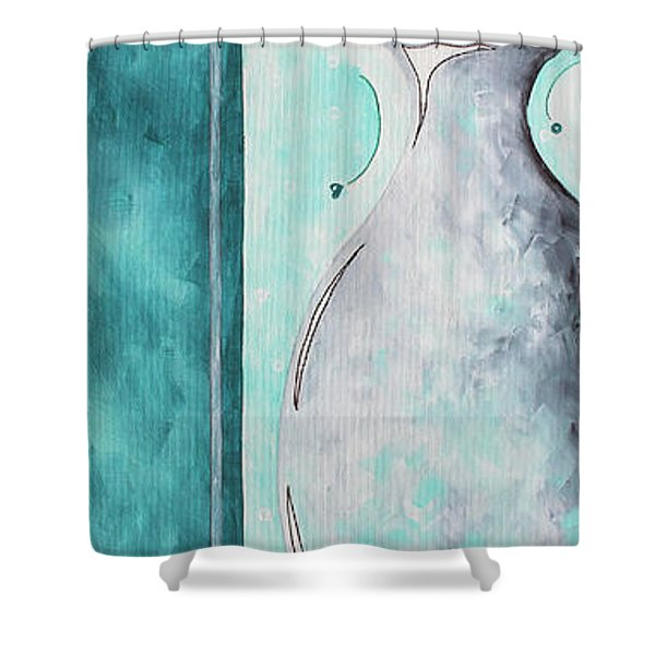 Decorative Floral Vase Painting Shabby Chic Style Relax And Unwind I By Madart Studios Shower Curtain by Megan Duncanson