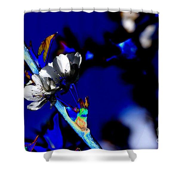 Deep Blue Shower Curtain by Carol Lynch