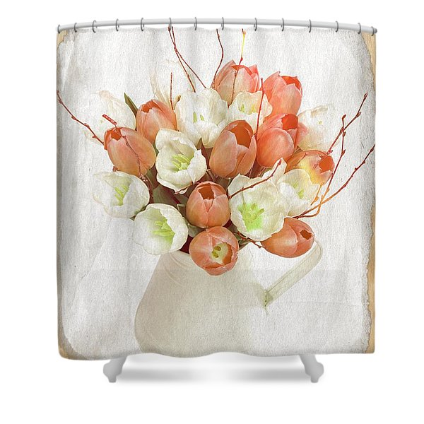 Deluxe Peach Tulips Shower Curtain by Debra  Miller