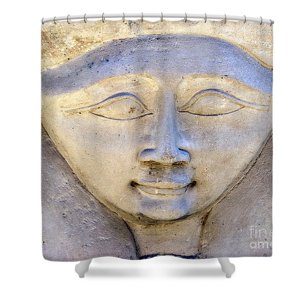 Dendara Carving 2 - Hathor Shower Curtain by Brian Raggatt
