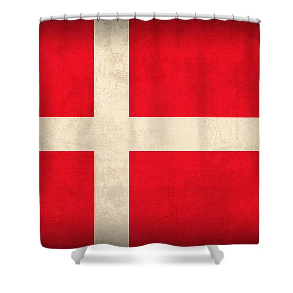 Denmark Flag Vintage Distressed Finish Shower Curtain by Design Turnpike