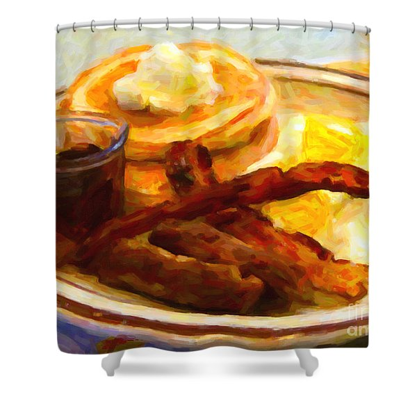 Denny's Grand Slam Breakfast - Painterly Shower Curtain by Wingsdomain Art and Photography