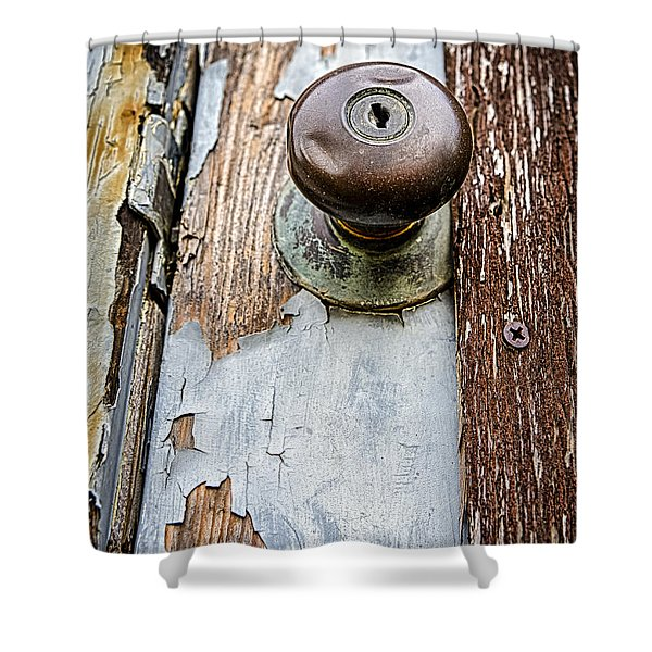 Dented Doorknob Shower Curtain by Caitlyn  Grasso