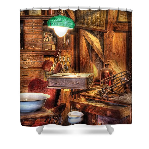 Dentist - In The Dentist's Office Shower Curtain by Mike Savad