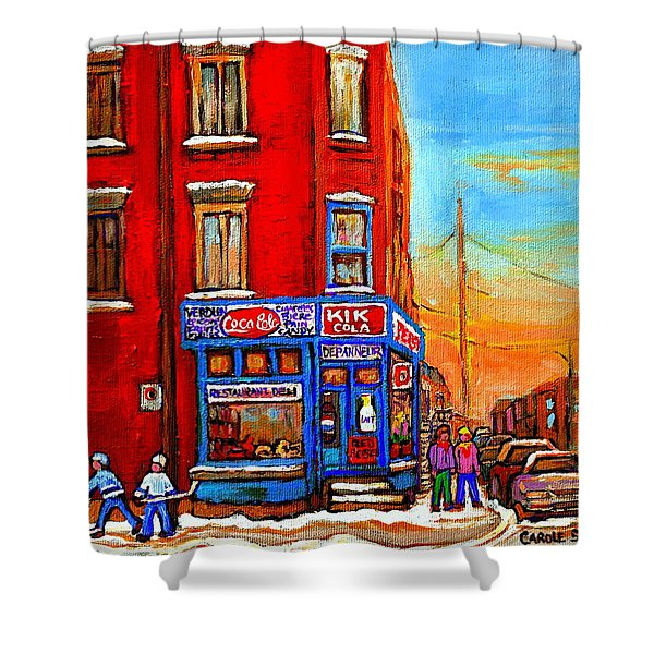 Depanneur Marche Fruits Verdun Restaurant Smoked Meat Deli  Montreal Winter Scene Paintings  Hockey Shower Curtain by Carole Spandau