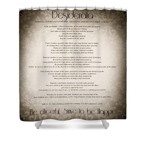 Desiderata - Vintage Sepia Shower Curtain by Marianna Mills
