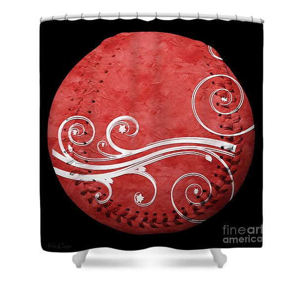 Designer Red Baseball Square Shower Curtain by Andee Design