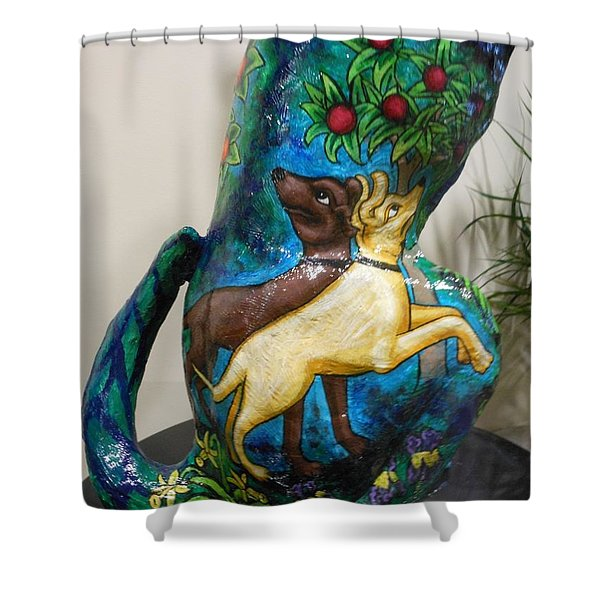Detail Of Hunt For The Unicorn On A Full Moon Shower Curtain by Genevieve Esson