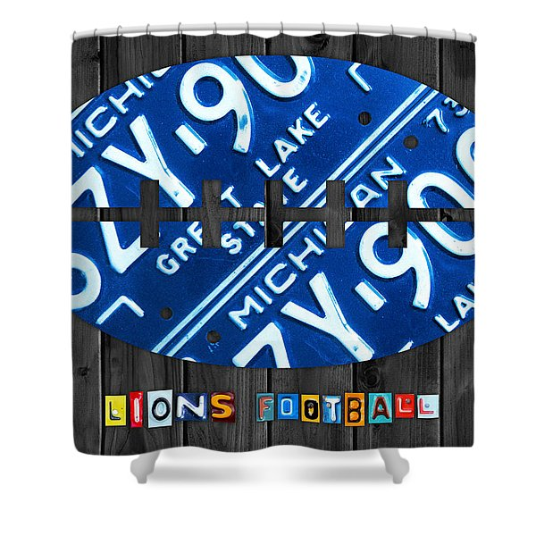Detroit Lions Football Vintage License Plate Art Shower Curtain by Design Turnpike