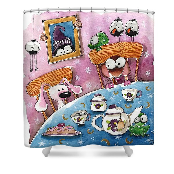 Did You Invite The Witch To Tea Shower Curtain by Lucia Stewart