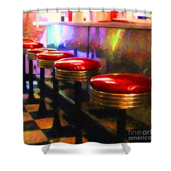 Diner - v2 - square Shower Curtain by Wingsdomain Art and Photography