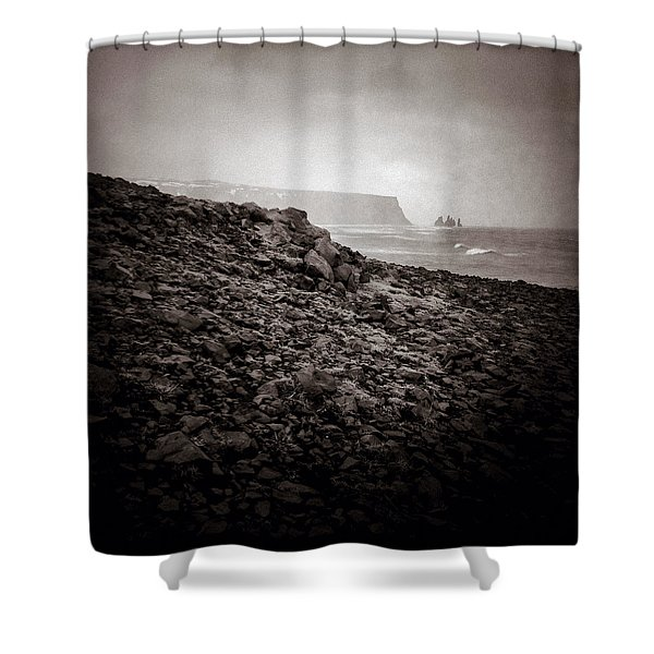 Distant Stacks Shower Curtain by Dave Bowman