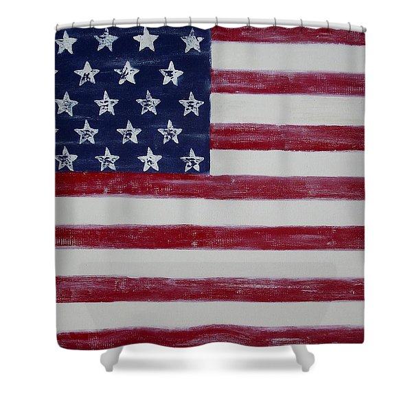 Distressed American Flag Shower Curtain by Holly Anderson