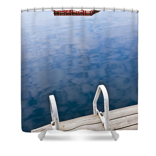 Dock on calm lake in cottage country Shower Curtain by Elena Elisseeva