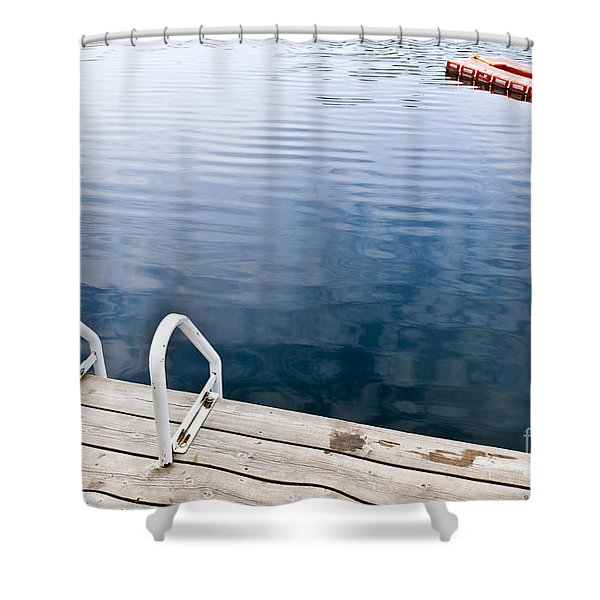Dock On Calm Summer Lake Shower Curtain by Elena Elisseeva