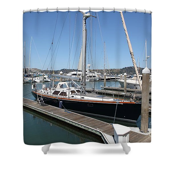 Docks at Sausalito California 5D22688 Shower Curtain by Wingsdomain Art and Photography