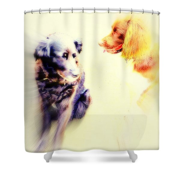dog romance Shower Curtain by Hilde Widerberg