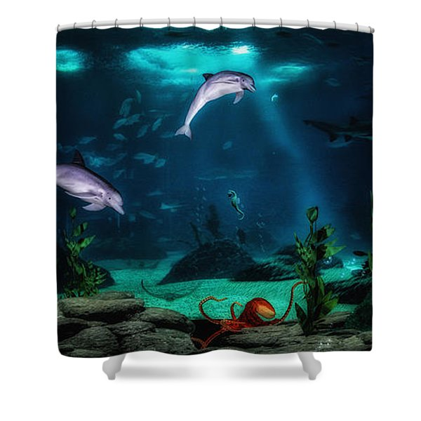 Dolphin Tails 2 Shower Curtain by Todd and candice Dailey