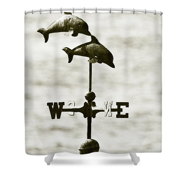 Dolphins Weathervane In Sepia Shower Curtain by Ben and Raisa Gertsberg