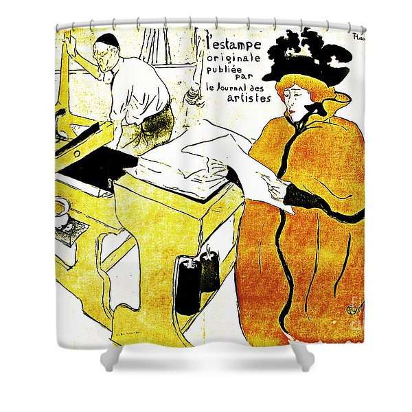 Domain-Le Stamp Shower Curtain by Michael Braham