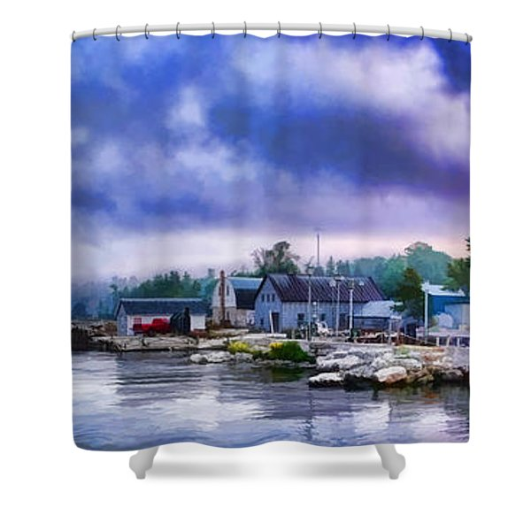 Door County Gills Rock Morning Catch Panorama Shower Curtain by Christopher Arndt