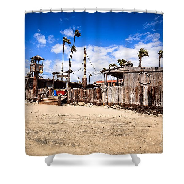 Dory Fishing Fleet Market in Newport Beach California Shower Curtain by Paul Velgos
