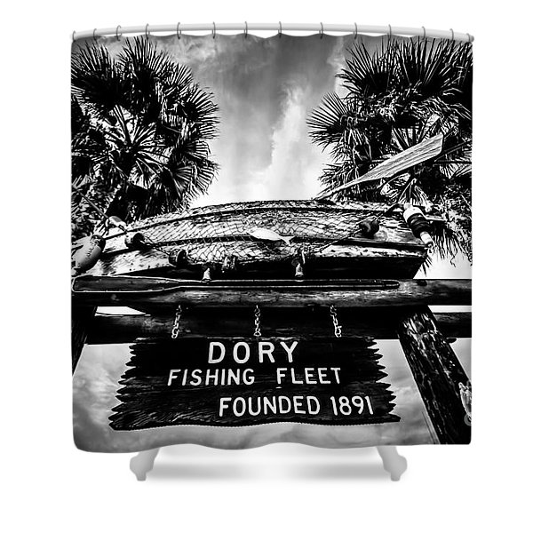 Dory Fishing Fleet Sign Picture In Newport Beach Shower Curtain by Paul Velgos