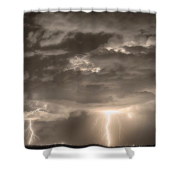 Double Lightning Strikes in Sepia HDR Shower Curtain by James BO  Insogna