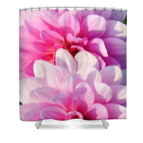 Double Pink Shower Curtain by Kathleen Struckle