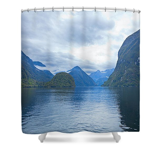 Doubtful Sound Reflections Shower Curtain by Alexey Stiop