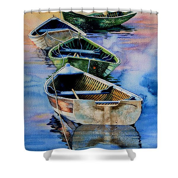 Down East Dories At Dawn Shower Curtain by Hanne Lore Koehler