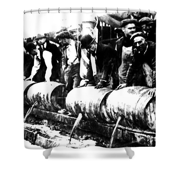 Down The Drain Shower Curtain by Bill Cannon