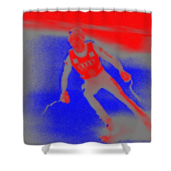 Downhill Skier Shower Curtain by George Pedro
