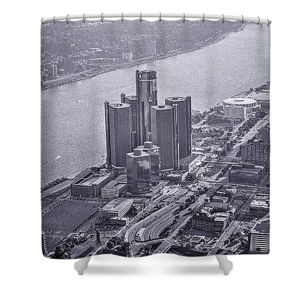 Downtown Detroit Shower Curtain by Nicholas  Grunas
