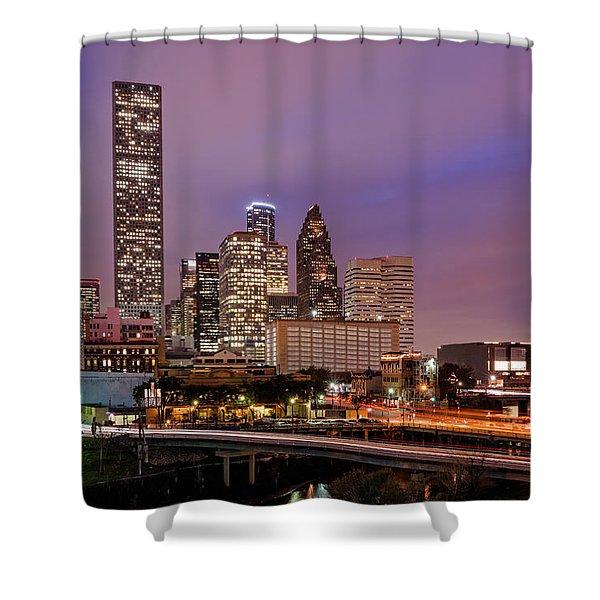 Downtown Houston Texas Skyline Beating Heart of a Bustling City Shower Curtain by Silvio Ligutti