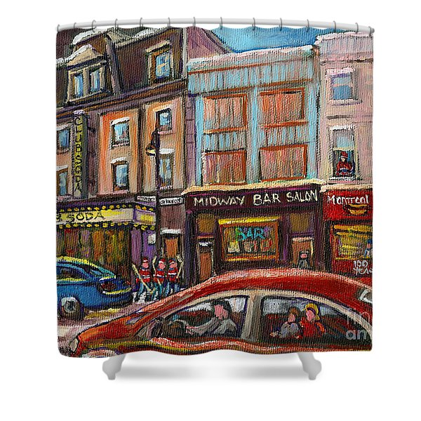 Downtown Montreal Streetscene Shower Curtain by Carole Spandau