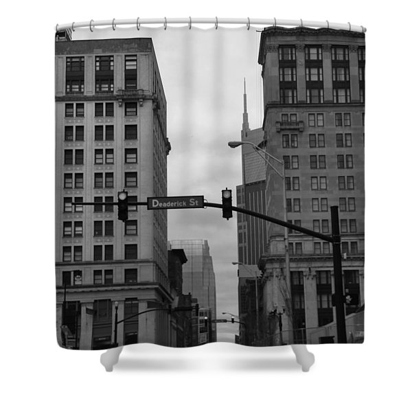 Downtown Nashville In Black And White Shower Curtain by Dan Sproul