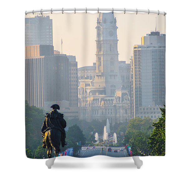 Downtown Philadelphia - Benjamin Franklin Parkway Shower Curtain by Bill Cannon