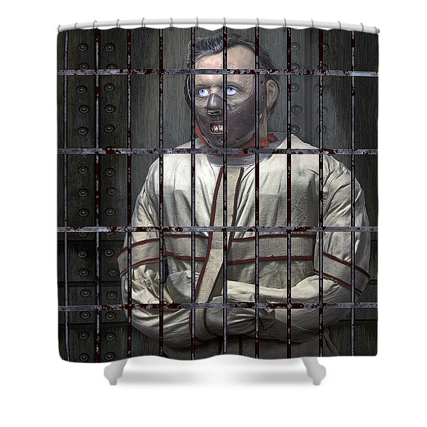 Dr. Lecter Restrained Shower Curtain by Daniel Hagerman