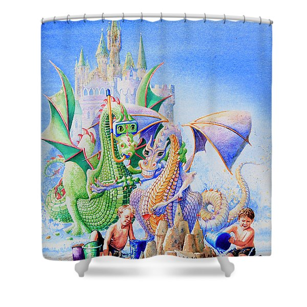 Dragon Castle Shower Curtain by Hanne Lore Koehler