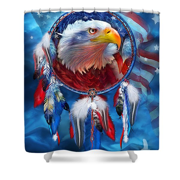 Dream Catcher - Eagle Red White Blue Shower Curtain by Carol Cavalaris