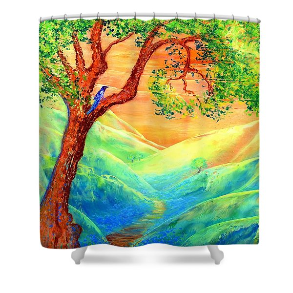 Dreaming of Bluebells Shower Curtain by Jane Small