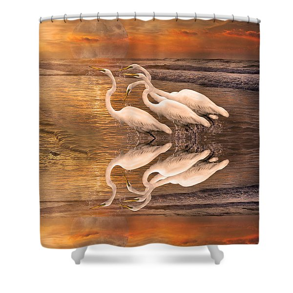 Dreaming Of Egrets By The Sea Reflection Shower Curtain by Betsy C  Knapp