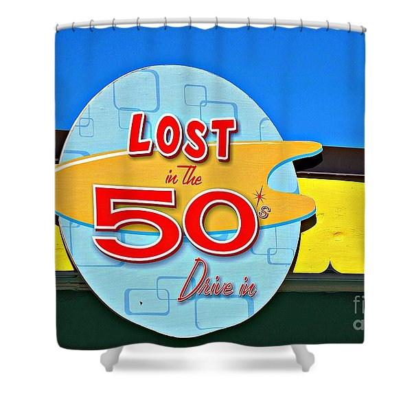 Drive-in Diner Sign Shower Curtain by Ethna Gillespie