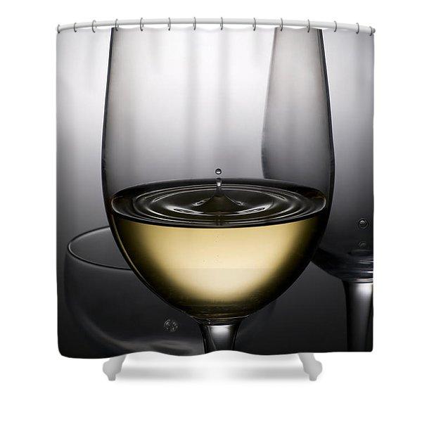 drops of wine in wine glasses Shower Curtain by Setsiri Silapasuwanchai