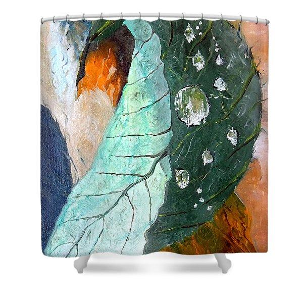 Drops on a leaf Shower Curtain by Daniel Janda