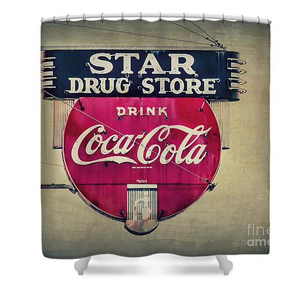 Drug Store Neon Shower Curtain by Perry Webster